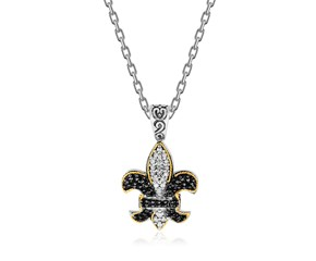 Black and White Sapphire Accented Fleur De Lis Pendant in 18K Yellow Gold and Sterling Silver