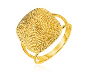 14k Yellow Gold Ring with Textured Semi-Square Dome Top