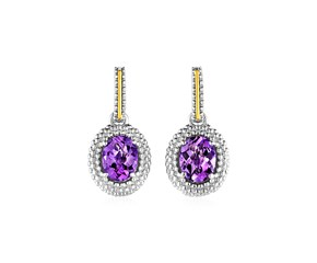 Oval Amethyst Earrings in 18K Yellow Gold & Sterling Silver