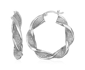 Twisted Glitter Textured Hoop Earrings in Sterling Silver