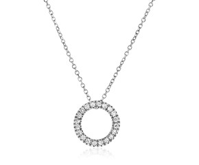 14K White Gold 18 inch Necklace with Gold and Diamond Open Ring Pendant (1/10 ct. tw.)