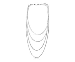 Sterling Silver Four Strand Polished Chain Necklace