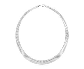 Sterling Silver Serpentine Style Necklace with Linear Texture
