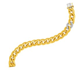 14K Gold and Diamond Curb Style Link Bracelet (5/8 ct. tw.)