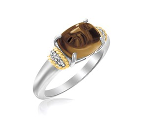 Prong Set Polished Smokey Quartz Ring in 18K Yellow Gold and Sterling Silver