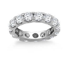 Round Diamond Adorned Eternity Ring in 14k White Gold