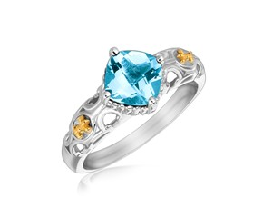 Square Blue Topaz Fleur De Lis Style Ring in 18K Yellow Gold and Sterling Silver