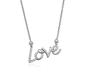 14k White Gold 18 inch Necklace with Gold and Diamond Love Symbol