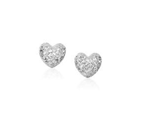 Diamond Cut Puffed Heart Earrings in 14K White Gold