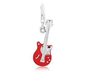 Guitar Red Enameled Charm in Sterling Silver