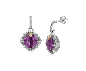 Cushion Amethyst and Diamond Accented Rope Motif Earrings in 18k Yellow Gold and Sterling Silver
