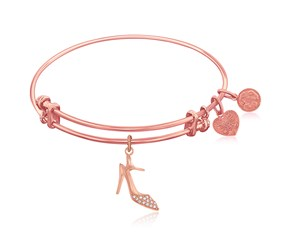 Expandable Pink Tone Brass Bangle with High Heels Shoe Symbol
