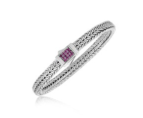 Braided Style Pink Sapphire Embellished Men's Bracelet in Sterling Silver