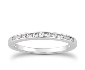 Channel Set Diamond Wedding Ring Band in 14K White Gold
