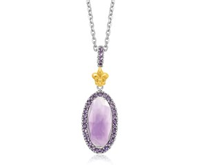 Oval Amethyst Fleur De Lis Pendant in 18k Yellow Gold and Sterling Silver