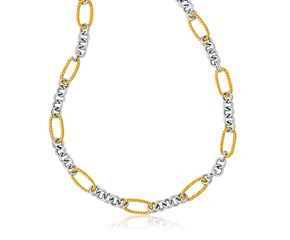Round Link and Long Cable Necklace in 14k Two-Tone Gold