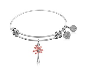Expandable White Tone Brass Bangle with Pink and White Tone Palm Tree