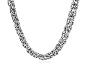 Thick Byzantine Chain Necklace in 14k White Gold