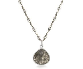 Teardrop Motif Rutilated Quartz Pendant in Sterling Silver