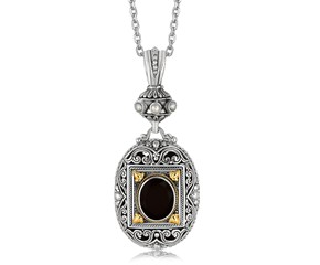 Rectangle Framed and Scrollwork Designed Oval Black Onyx Pendant in 18K Yellow Gold and Sterling Silver