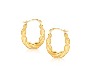 Oval Twist Hoop Earrings in 10k Yellow Gold