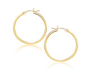 Classic Hoop Earrings in 10k Yellow Gold (25mm Diameter) (1.5mm)