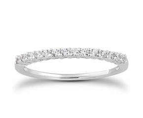Shared Prong Diamond Wedding Ring Band with Airline in 14K White Gold
