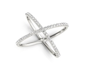 Diamond X Motif Ring in 14k White Gold (1/2 cttw)
