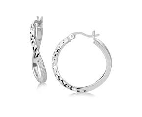 Twisted Diamond Cut Hoop Earrings in Rhodium Plated Sterling Silver (20mm)