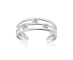White Cubic Zirconia Embellished Triple Line Style Open Toe Ring in Rhodium Finished Sterling Silver