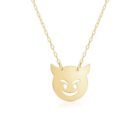 14k Yellow Gold Necklace with Devil Emoji Symbol