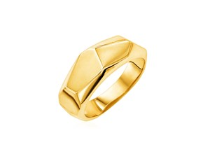 14k Yellow Gold Hammered Texture Ring