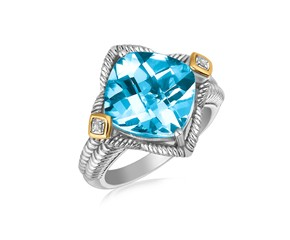 Blue Topaz and Diamond Embellished Cushion Ring in 18k Yellow Gold and Sterling Silver