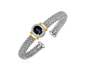 Popcorn Texture Cuff Bangle with Oval Onyx in Sterling Silver and 18k Yellow Gold