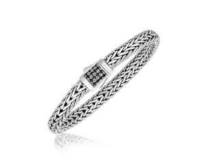 Black Sapphire Embellished Men's Braided Design Bracelet in Sterling Silver