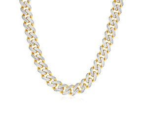 14k Two Tone Gold Miami Cuban Chain Necklace with White Pave