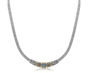 Diamond Pattern and Multi Stone Accented Wheat Bar Necklace in 18K Yellow Gold and Sterling Silver