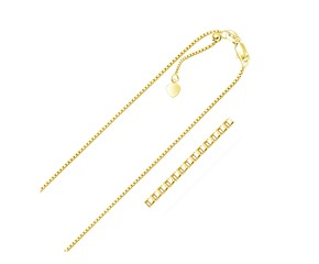 Adjustable Box Chain in 14k Yellow Gold (1.1mm)