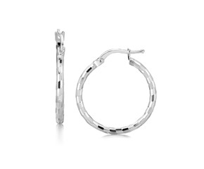 Spiral Motif Medium Diamond Cut Hoop Earrings in Rhodium Plated Sterling Silver (20mm)