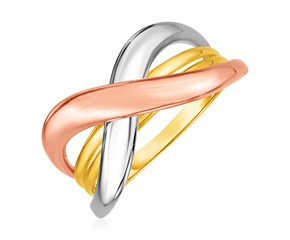 14k Tri color Gold Crossover Ring