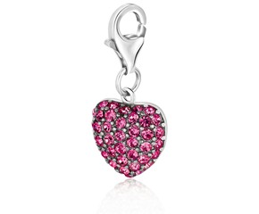 Heart Pink Tone Crystal Accented Charm in Sterling Silver
