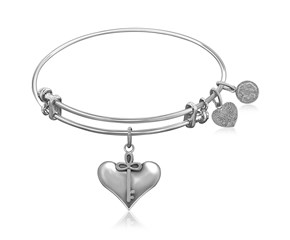 Expandable White Tone Brass Bangle with Cherish Symbol