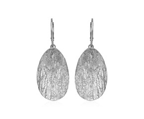 Textured Oval Earrings with White Finish in Sterling Silver