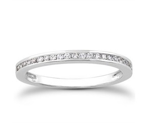 Slender Channel Set Diamond Wedding Ring Band in 14k White Gold