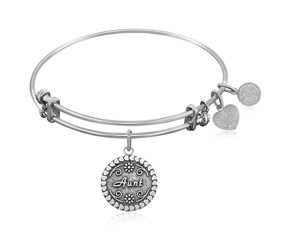 Expandable White Tone Brass Bangle with Aunt Symbol
