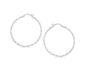 Large Faceted Motif Hoop Earrings in Rhodium Plated Sterling Silver