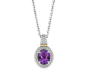 Necklace with Oval Amethyst Pendant in Sterling Silver and 18k Yellow Gold