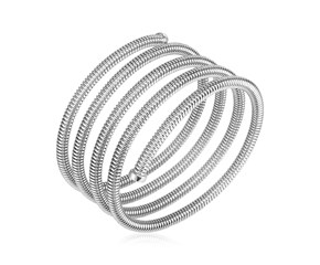 Sterling Silver Serpentine Style Five Coil Bangle Bracelet