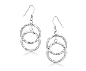 Dual Textured Open Circle Drop Earrings in Sterling Silver