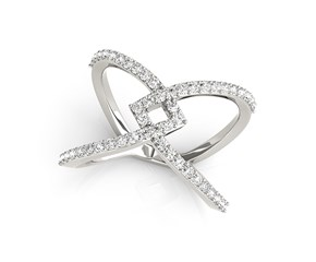 Interlaced Style Diamond Studded Ring in 14k White Gold (1/2 cttw)
